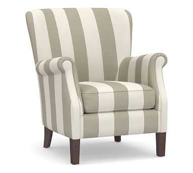SoMa Minna Upholstered Armchair, Polyester Wrapped Cushions, Premium Performance Awning Stripe Oatmeal/Ivory - Pottery Barn