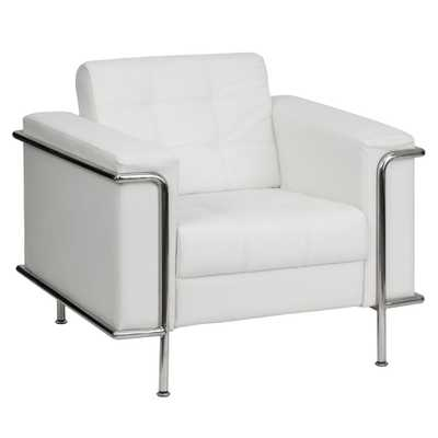 Hercules Lesley Series Contemporary White Leather Chair with Encasing Frame - Home Depot