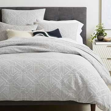 Organic Geo Waffle Jacquard Duvet Cover, Full/Queen, Platinum - West Elm