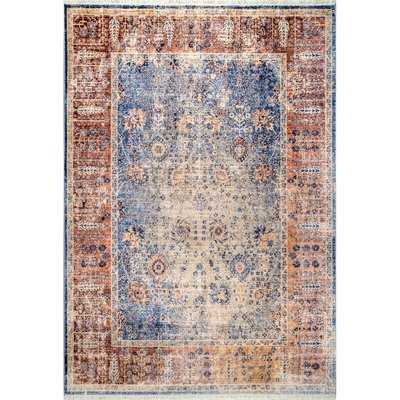 Chagford Blue/Rust Area Rug - Wayfair