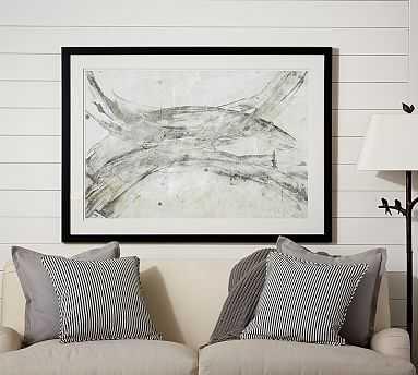 """Gray Brushstrokes Abstract Framed Print, 55 x 40"""", Gray - Pottery Barn"""