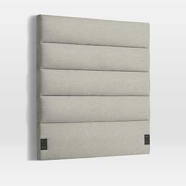 Panel Tufted Headboard, Queen, Twill, Stone - West Elm