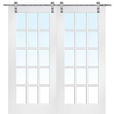 MMI Door 72 in. x 84 in. 15 Lite True Divided Primed MDF Barn Door with Sliding Door Hardware Kit - Home Depot