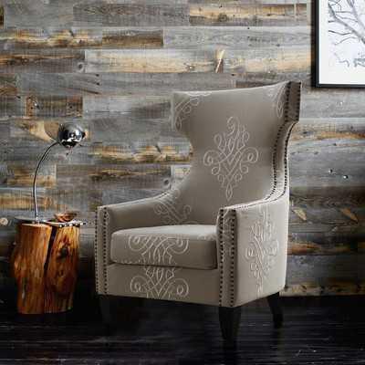 Benedita Embroidered Linen Wingback Chair - Wayfair