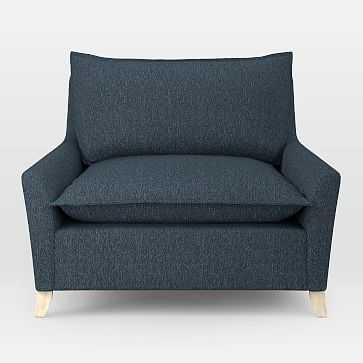 Bliss Down-Filled Chair-and-a-Half, Twill, Indigo - West Elm