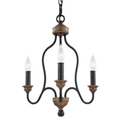 Feiss Hartsville 16.5 in. W. 3-Light Dark Weathered Zinc/Weathered Oak Single Tier Chandelier - Home Depot