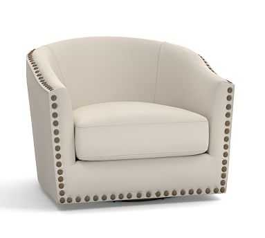 Harlow Upholstered Swivel Armchair with Bronze Nailheads, Polyester Wrapped Cushions, Twill Cream - Pottery Barn