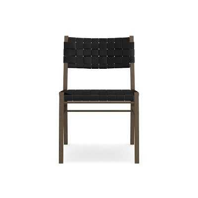 Stratton Dining Side Chair, Rustic Brown Leather, Black - Williams Sonoma