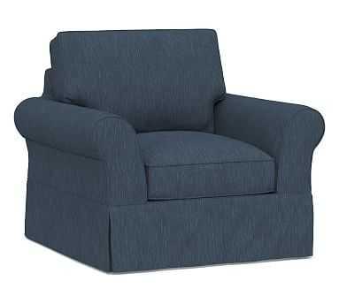 "PB Comfort Roll Arm Slipcovered Armchair 39"", Box Edge Down Blend Wrapped Cushions, Performance Heathered Tweed Indigo - Pottery Barn"