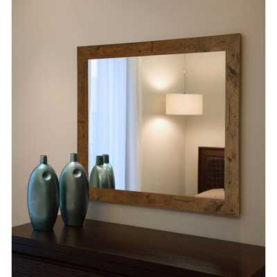Rayne Mirrors 40 in. x 30 in. Rustic Light Walnut Non Beveled Vanity Wall Mirror - Home Depot