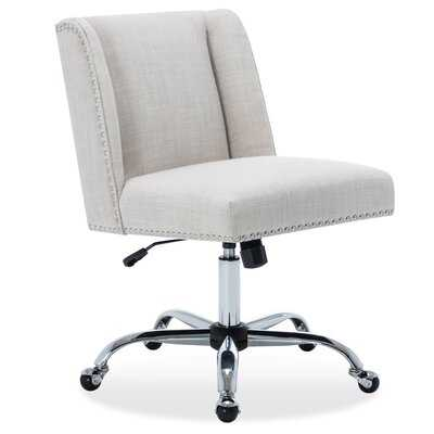 Upholstered Fabric Office Chair Nailhead Trim Swivel Task Chair, Blue - Wayfair