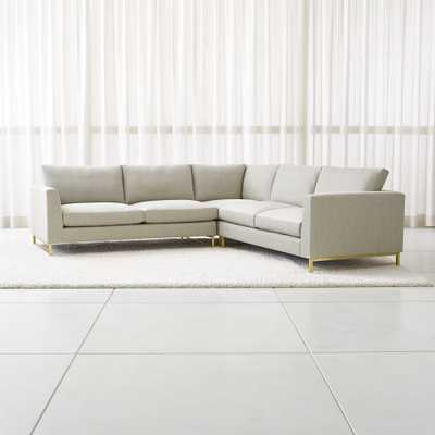 Tyson 3-Piece Left Corner Sectional with Brass Base - Crate and Barrel