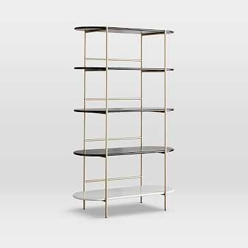 Tiered Bookshelf, Tall, Dark Walnut/Salt - West Elm