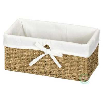 12 in. W x 6.5 in. D x 5.3 in. H Seagrass Shelf Basket Lined with White Lining, Natural - Home Depot