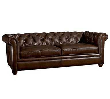 """Chesterfield Leather Grand Sofa 96"""", Polyester Wrapped Cushions, Vintage Cocoa - Pottery Barn"""