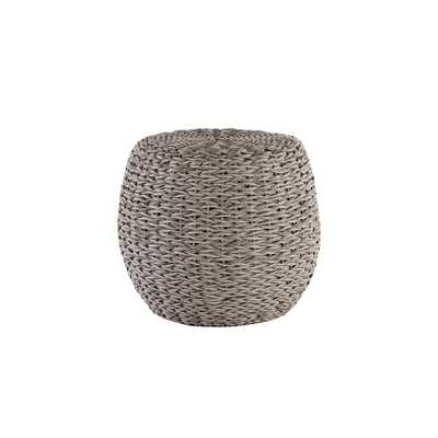 Hampton Bay Megan Grey All-Weather Wicker Patio 24 in. Round Stool - Home Depot