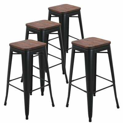 "Jamar 30"" Metal Bar Stools Wooden Seat - Wayfair"