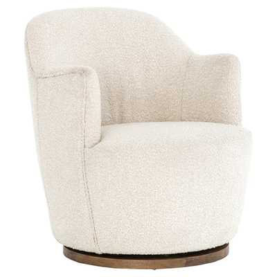 Rich Modern Classic Cozy Off-White Upholstered Swivel Base Living Room Chair - Kathy Kuo Home