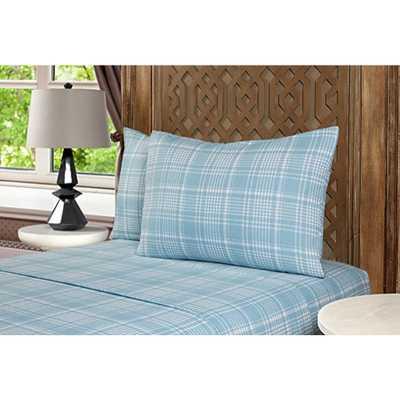 Morgan Home Fashions Geraldine 100% Cotton Twin Blue Flannel Sheet Set - Home Depot