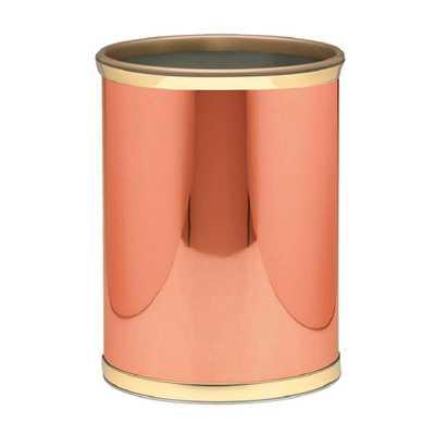 Mylar 13 qt. Polished Copper and Brass Round Waste Basket - Home Depot