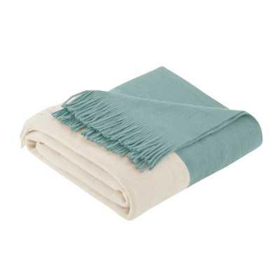 """60""""x50"""" Color Block Faux Cashmere Throw Blanket Aqua (Blue) - Target"""