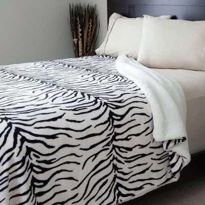 Zebra Print Fleece/Sherpa Polyester King Blanket - Home Depot