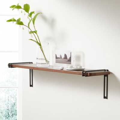 """Riggs 36"""" Walnut Shelf with Black Duo Band Brackets - Crate and Barrel"""