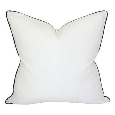 Solid White with Piping - 20x20 pillow cover / Navy - Arianna Belle