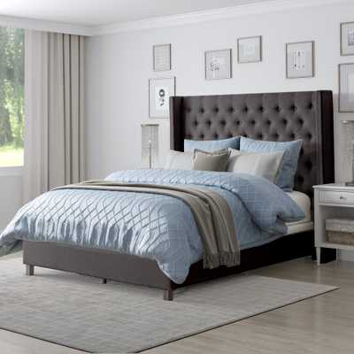 CorLiving Fairfield Dark Grey Tufted Fabric King Bed with Wings - Home Depot