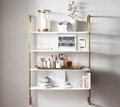 Olivia Wall Mounted Shelves, Brass - Pottery Barn