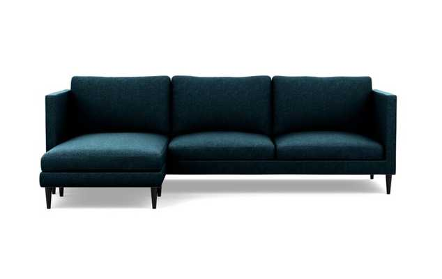 Oliver Sectionals with Indigo Fabric with left facing chaise and Matte Black legs - Interior Define