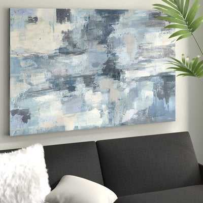 'In The Clouds' Acrylic Painting Print on Canvas in Gray/Indigo - Wayfair