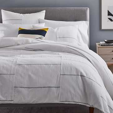 Broken Lines Linen Cotton Duvet Cover, Full/Queen, White - West Elm