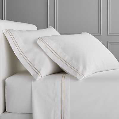 White Hotel Bedding, Sheet Set, Two-Line, Full/Queen, Sand - Williams Sonoma
