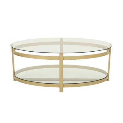 Noble House Plumeria Modern Oval Clear Tempered Glass 2-Tier Coffee Table with Brass Iron Frame, Clear/Brass - Home Depot
