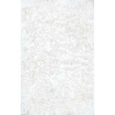 Latonia Silken Shag Pearl White 8 ft. x 10 ft. Area Rug - Home Depot