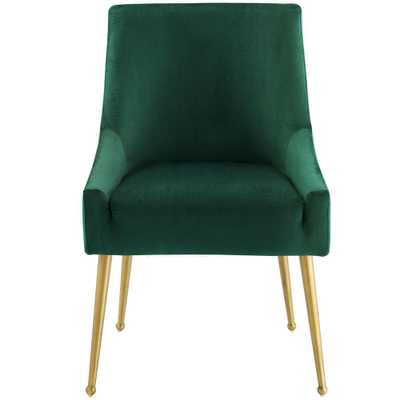 MODWAY Discern Green Upholstered Performance Velvet Dining Chair - Home Depot