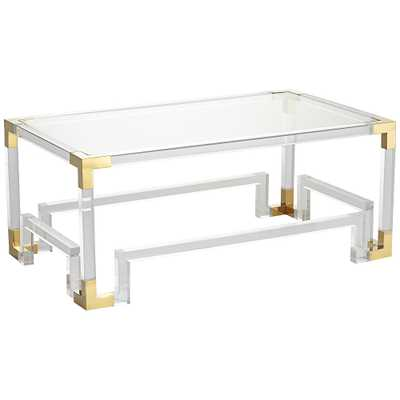 Hanna Clear Acrylic Coffee Table with Geometric Base - Style # 34R73 - Lamps Plus