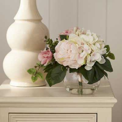 Rose and Hydrangea in Glass Vase - Birch Lane