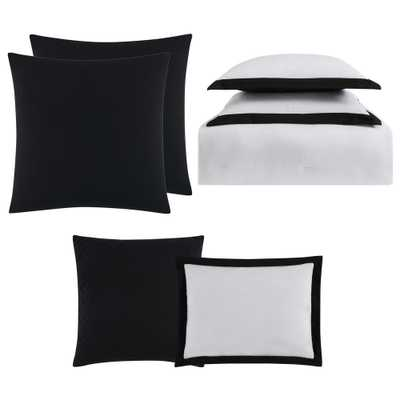 Everyday Hotel Border White and Black 7-Piece Full/Queen Comforter Set, White And Black Comforter - Home Depot