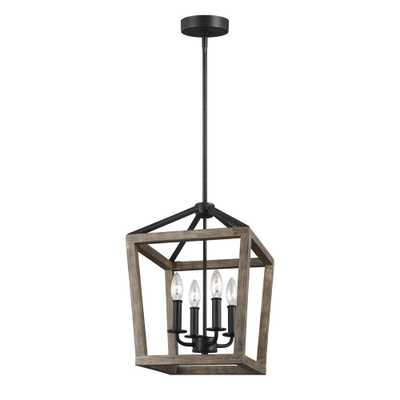 Feiss Gannet 12 in. W. 4-Light Weathered Oak Wood and Antique Forged Iron Chandelier - Home Depot
