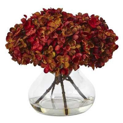 Hydrangea with Vase Silk Flower Arrangement - Home Depot