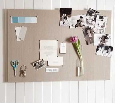 "Linen Pinboard, 36 x 24"", Stone - Pottery Barn"