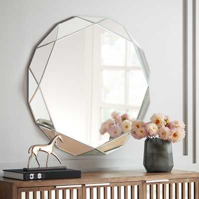 """Griffin Geometric Angle Cut 33"""" Round Wall Mirror - Style # 24K38 - Lamps Plus"""