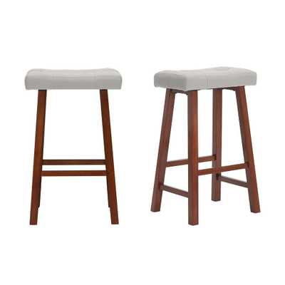 StyleWell Walnut Wood Upholstered Bar Stool with Riverbed Brown Saddle Seat (Set of 2) (18.75 in. W x 30 in. H), Riverbed/Walnut - Home Depot