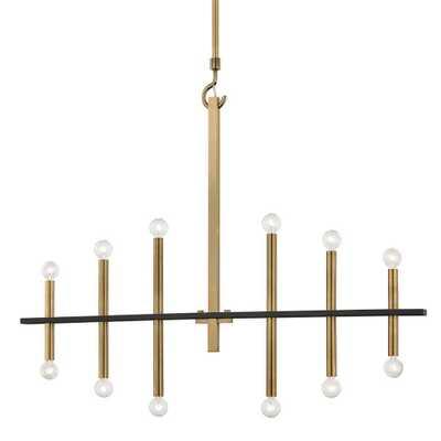 Mitzi by Hudson Valley Lighting Colette 12-Light Aged Brass/Black Chandelier - Home Depot