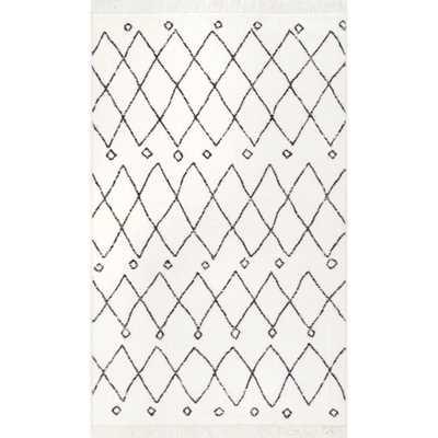 Krystal Trellis Tassel Off White 8 ft. x 10 ft. Area Rug - Home Depot