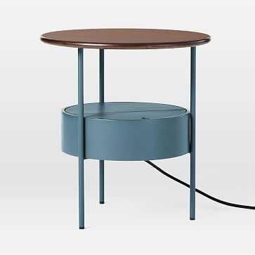Isla Side Table, Dark Walnut/Petrol Blue - West Elm