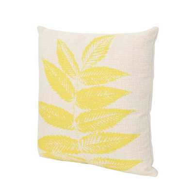Noble House Pinnate Beige and Yellow Square Outdoor Throw Pillow, Yellow On Beige - Home Depot