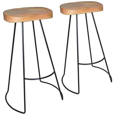 "Saga 31"" Natural Wood Scooped Seat Bar Stools Set of 2 - Style # 68X97 - Lamps Plus"